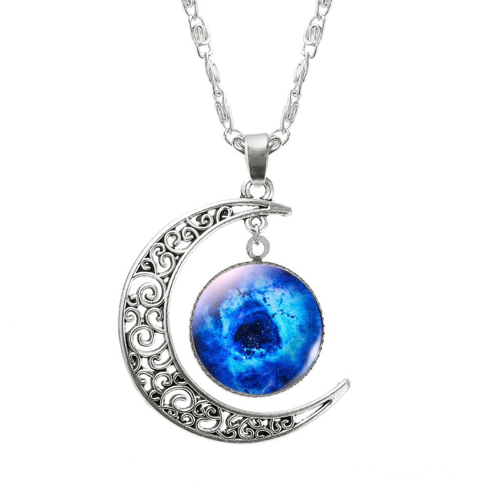 Hollow Moon & Glass Galaxy Statement Necklaces with Silver Chain