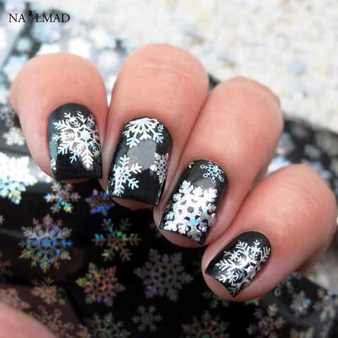 1 roll 4*100CM Holographic Snowflake Nail Sticker - awashdress