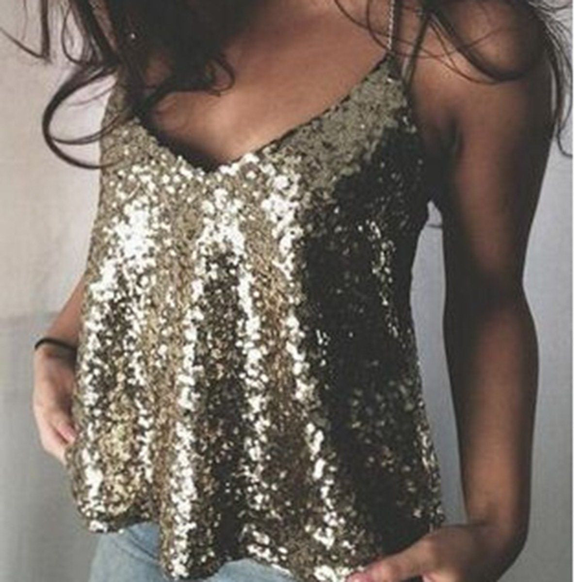 Bling Sequins Tank Tops - awashdress
