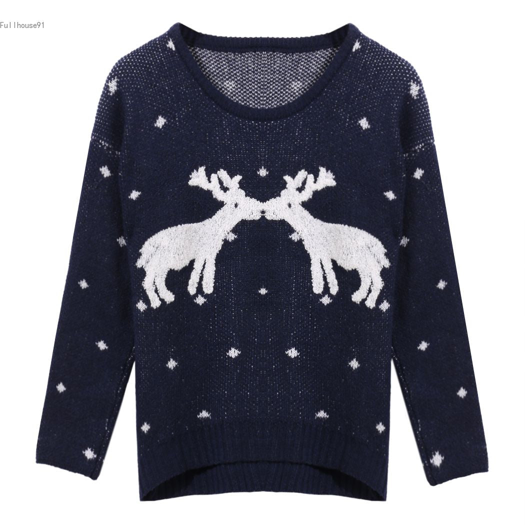 O-neck Long Sleeve Print Thick Knitting Sweater