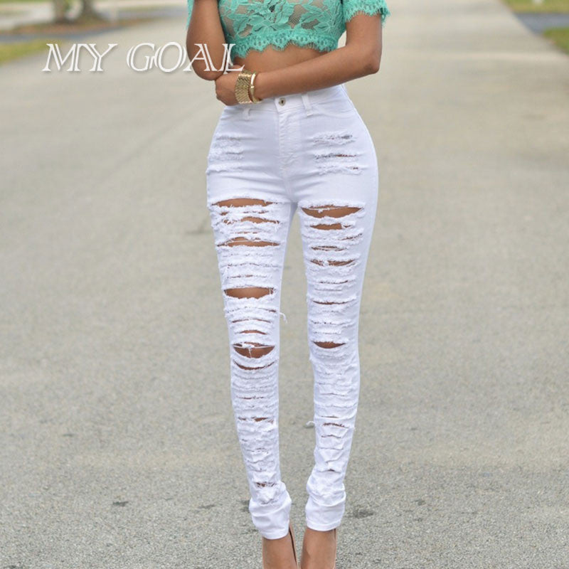 Ripped Skinny Black White Jeans