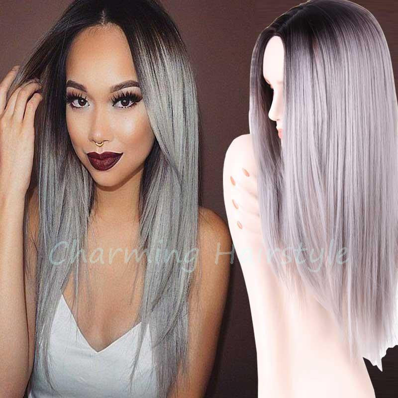 Grey Ombre Wig False Hair