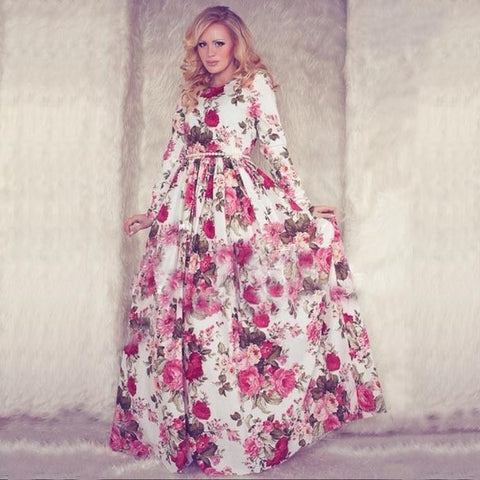 Summer Maxi Dress Long Sleeve O-neck Red Vintage Flower Print