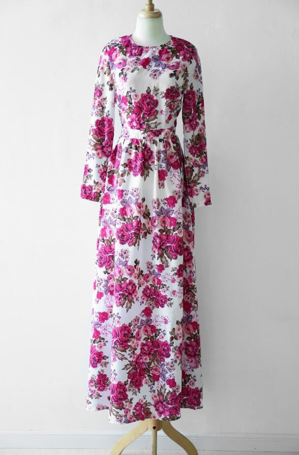 Flower Print Party Long Dress