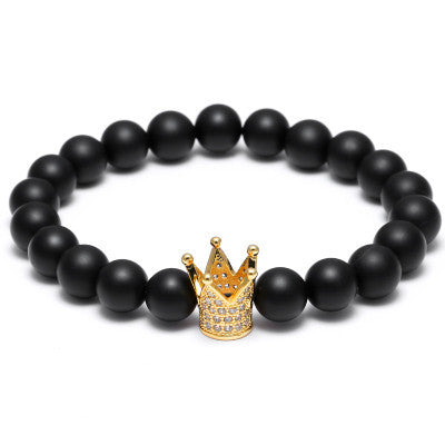 Skull Crown Lion Stone Beads Bracelet