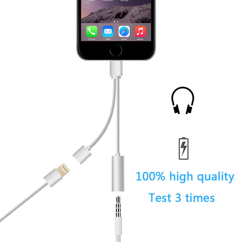 2in1 lightning to 3.5 mm Headphone Jack Adapter Charge Cable For 8pin iPhone 6 6s 7/ 6 6s 7plus - awashdress