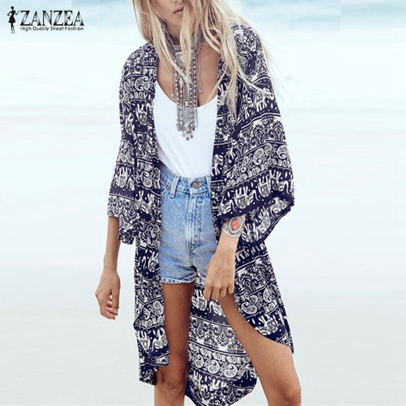 Summer Blouse Beach 3/4 Sleeve Loose Long Beach Tops