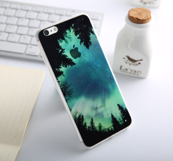 Soft Silicone Mountain Back Cover Case For Apple iPhone SE 5s / 6 6s / Plus Transparent Covers Cases For iPhone