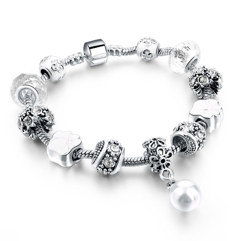 Silver Plated Flower Beads Charm Bracelet