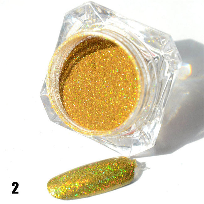 1.5g 1 Box Hot Sale Holographic Glitter Powder Nail Glitter Chrome Pigment 8 Colors - awashdress