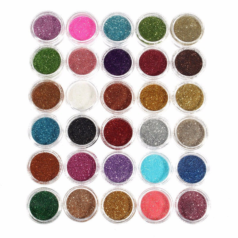 30pcs Mixed Colors Glitter Eyeshadow Powder - awashdress