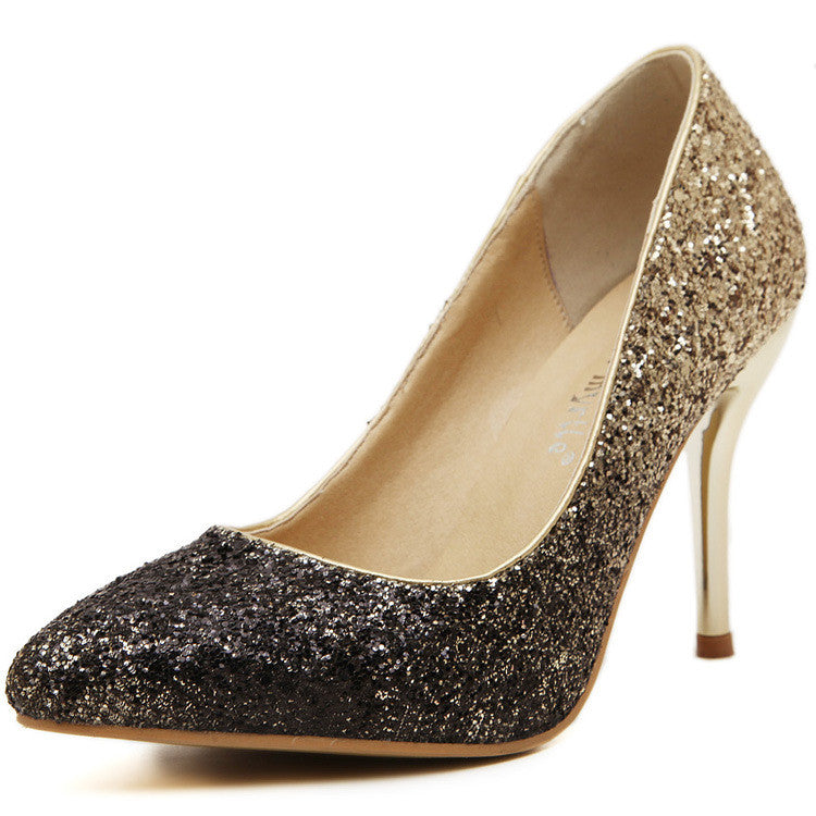 Golden sliver glitter high heels