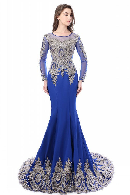 Long Sleeve Mermaid Satin Appliques Lace dress