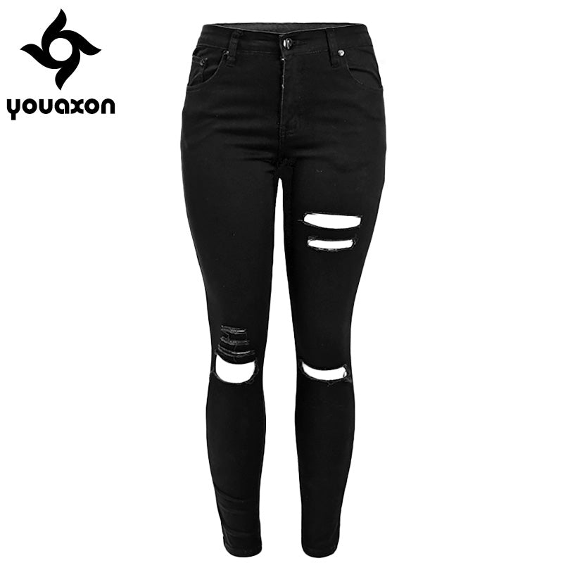 Ripped Stretch Black Skinny Denim Trousers