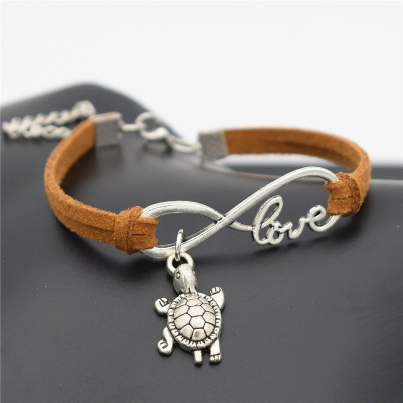 Tortoise Cute Silver Sea Turtle Charms Love Infinity Leather Bracelet