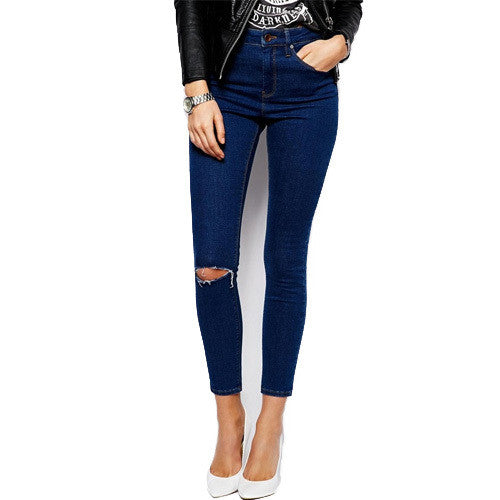 Cotton Denim Pants Ripped High Waist Elastic Skinny Jeans - awashdress