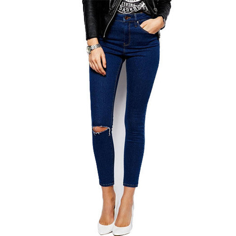 Cotton Denim Pants Ripped High Waist Elastic Skinny Jeans