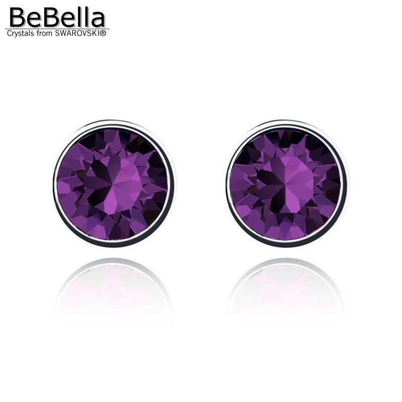 BeBella 11 colors 7mm round sutd crystals earrings - awashdress