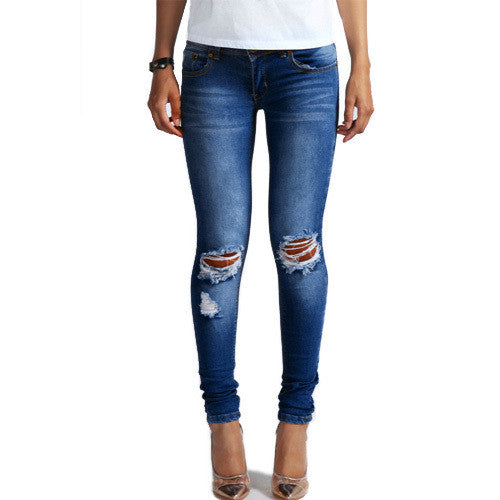 Cotton Denim Stretch Bleach Ripped Knee Jeans - awashdress