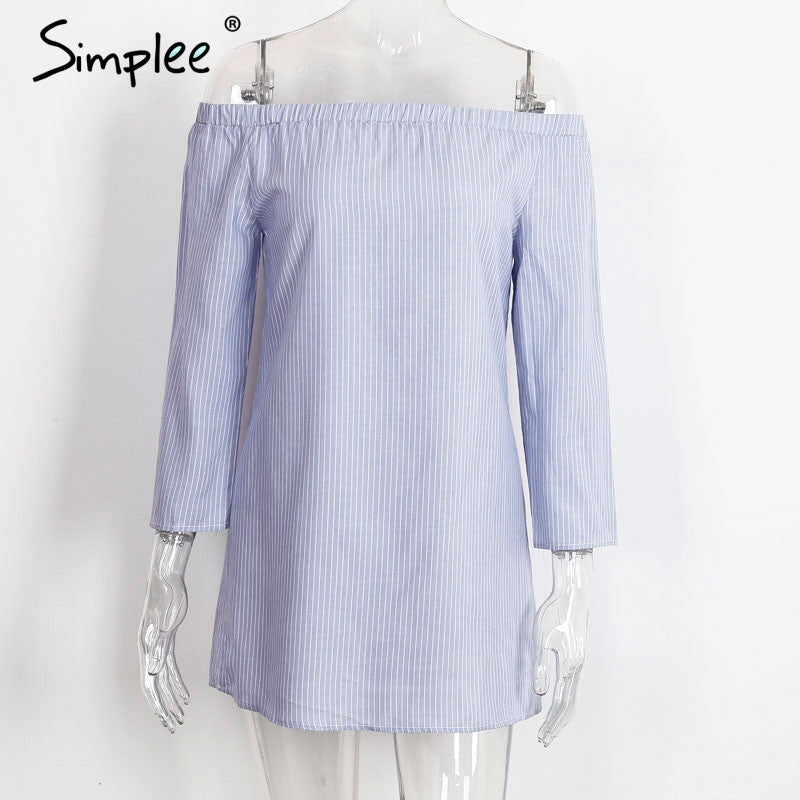 Off shoulder blue stripe blouse shirt