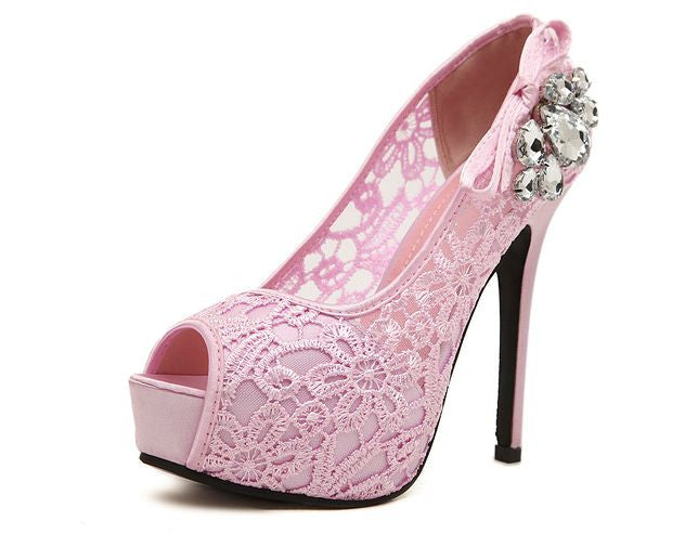 Pump lace rhinestone mesh hollow open toe high heels