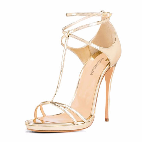 Ankle Cross Strap Slim Platform Party Sandals - awashdress
