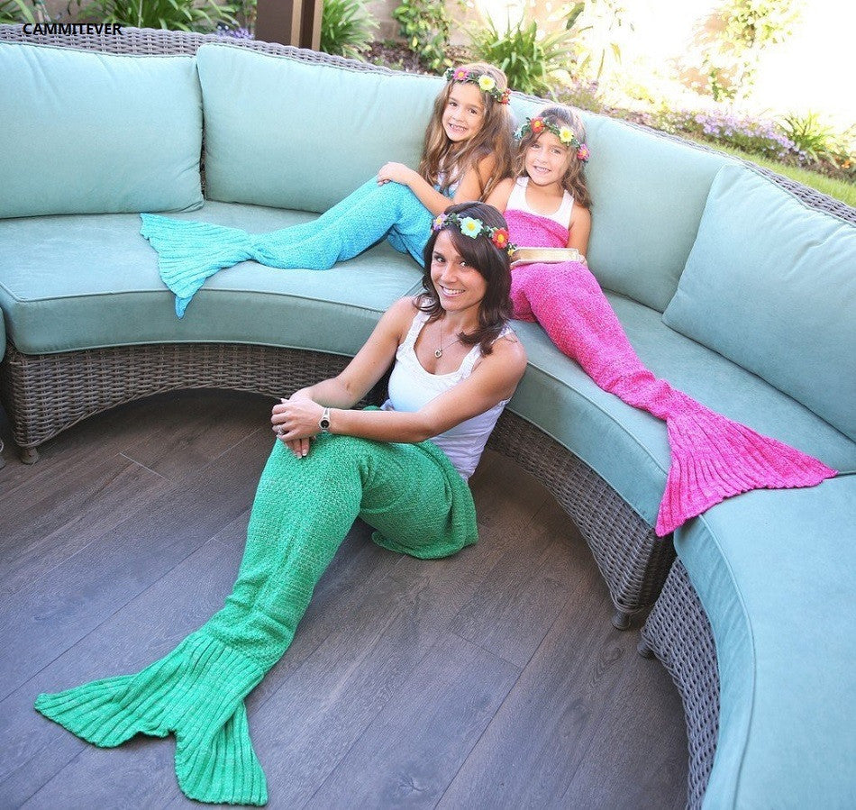 4 Sizes Yarn Knitted Mermaid Tail Blanket - awashdress