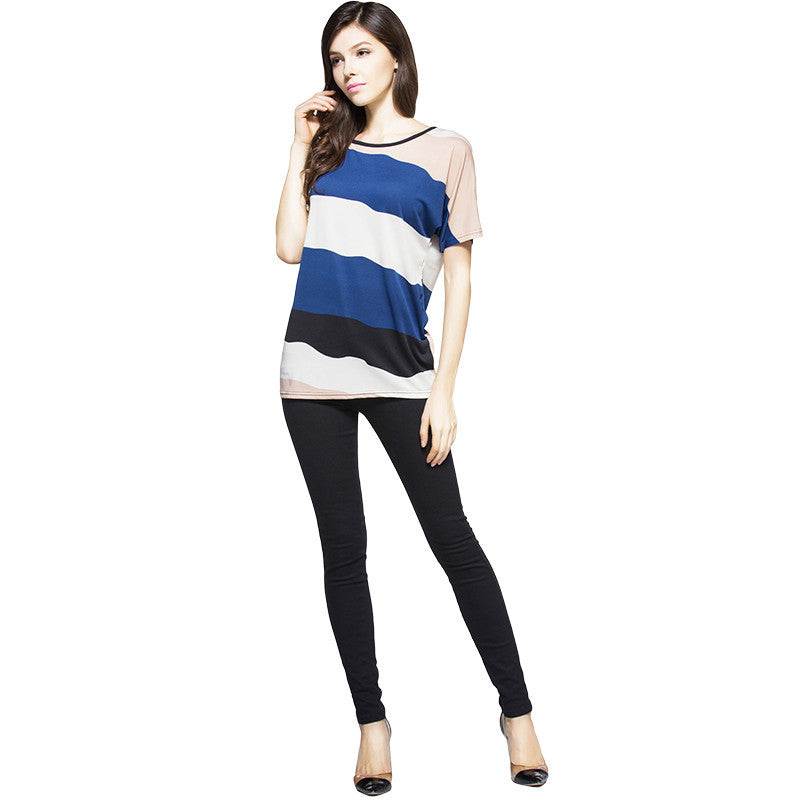 T-shirt O-neck Short Sleeve Striped Dress