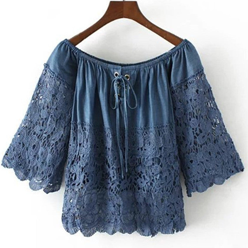 Lace Shirt Off Shoulder Blue Crop Tops