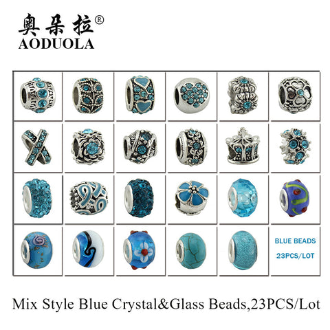 23pcs Mix Style Antique silver Metal Beads