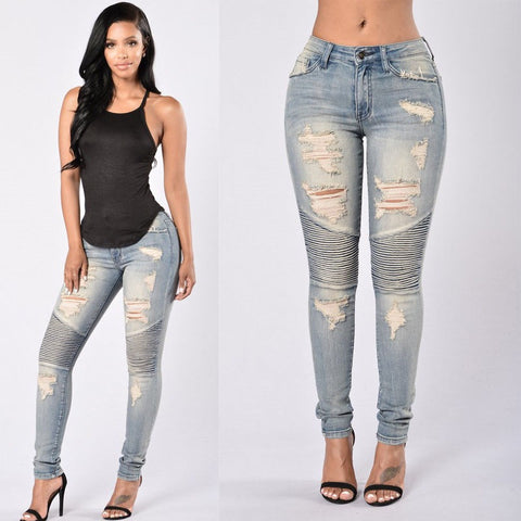 Ripped Slim Fit Denim Stretch Jeans