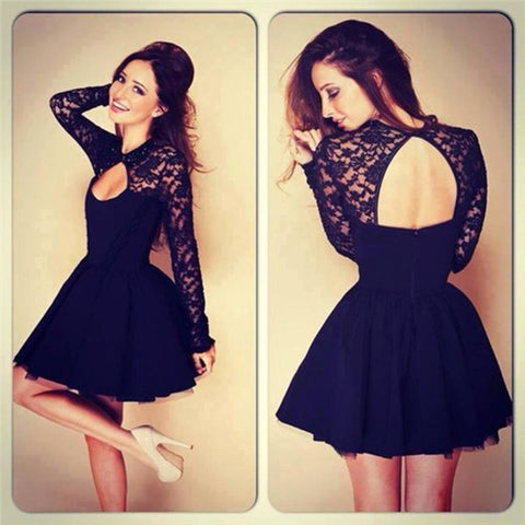 Black O-neck Hollow Lace Dress