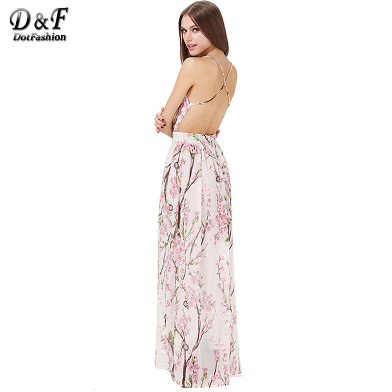 Spaghetti Strap Backless Floral Print Maxi Dress