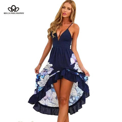 Blue/white deep V-neck sleeveless floral print ruffles long beach dress - awashdress