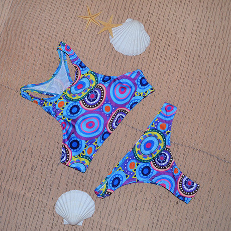 Triangle Color mix print high neck bikini set racerback swimsuit