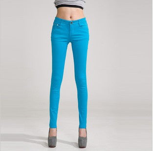Pencil Jeans Candy Colored Mid Waist