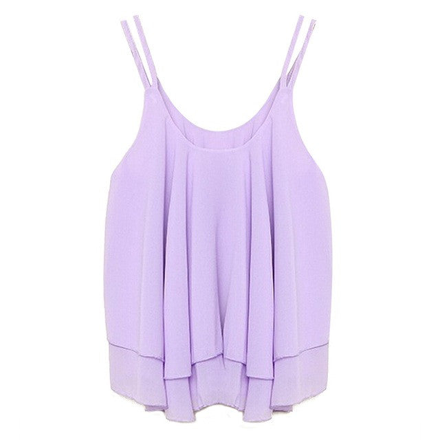 Double Layer Sleeveless Solid Crop Top T-shirt - awashdress