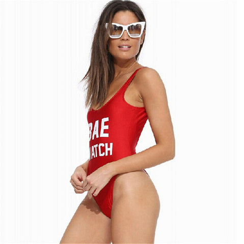 1 PC BAE WATCH Swimsuit Letter Print - awashdress