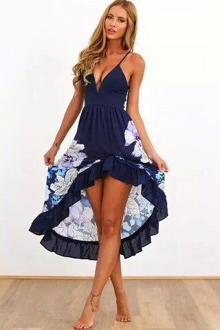 Blue/white deep V-neck sleeveless floral print ruffles long beach dress
