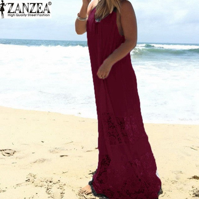 Summer Lace Loose Long Maxi Solid Dress Strapless Beach
