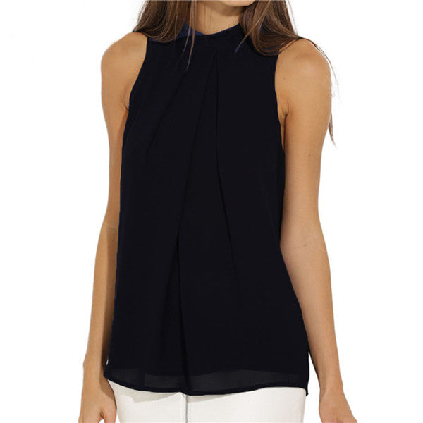 Chiffon Elegant Lady Navy Black Tops - awashdress