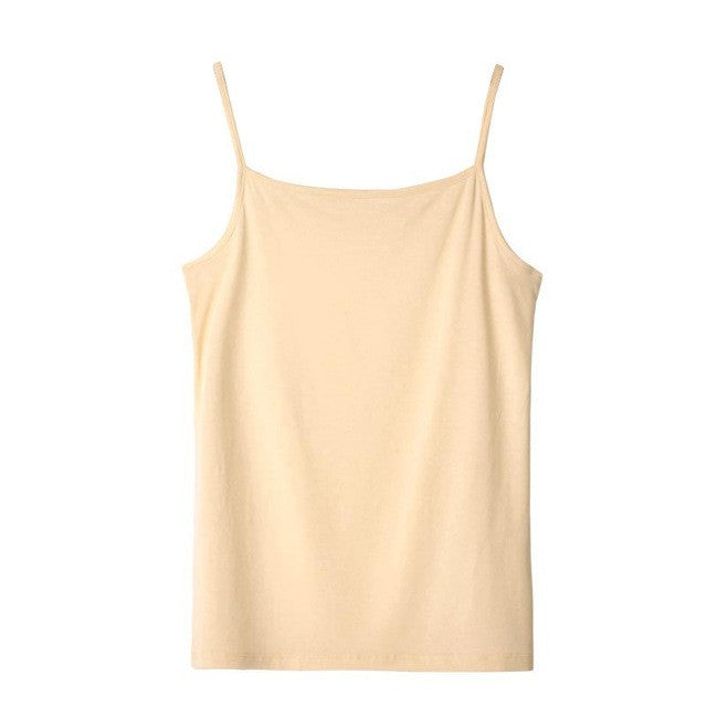 Cotton Plain Spaghetti Strap Layering Tank Top - awashdress