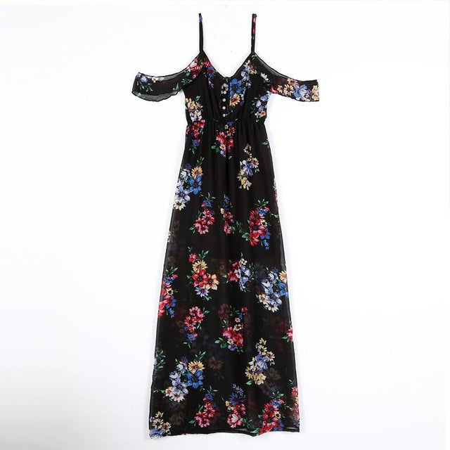Off Shoulder V-Neck Summer Dress Floral Print Long Party Dress