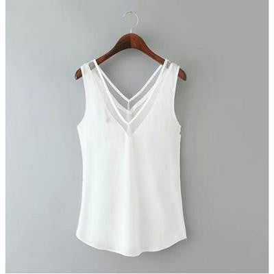 Chiffon Tops Sleeveless Blouse - awashdress