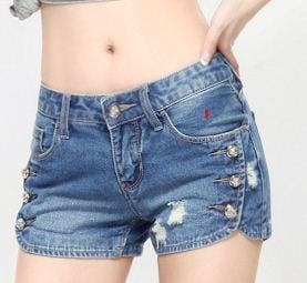 Denim Mid Ripped Short Jeans