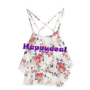 Print Chiffon Sleeveless Flower Floral Blouse