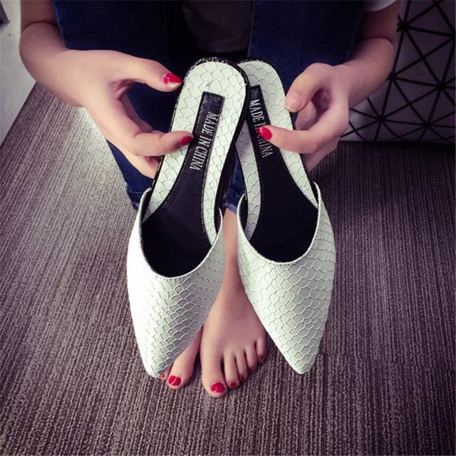 Pointed toe Mules Slip On Slides - awashdress