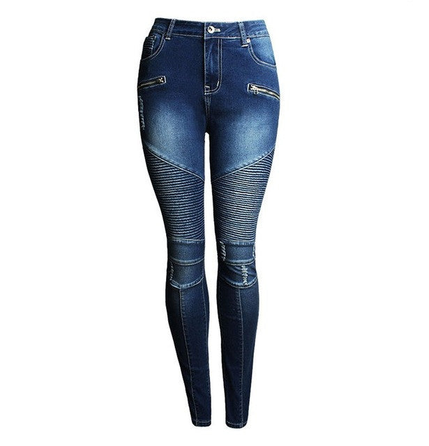 Motorcycle Patchwork Stretch Slim Fit Ripped Denim Jeans