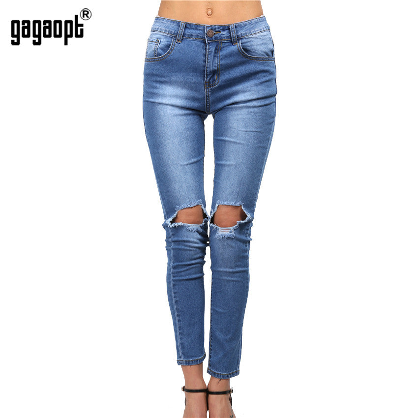 High Waist Ripped Boyfriend Jeans For Women