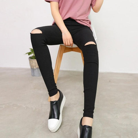 Cotton Elastic Skinny Pencil Ripped Jeans